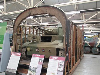 Light Tank Mk VII Tetrarch - The Bovington Tetrarch, displayed within a fuselage section of a Hamilcar glider
