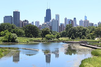 Lincoln Park - View of Chicago from the South Pond bridge in July 2018