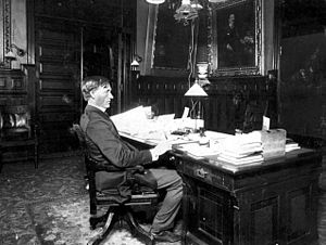John Lind (politician) - Lind seated at his desk in the Minnesota State Capitol