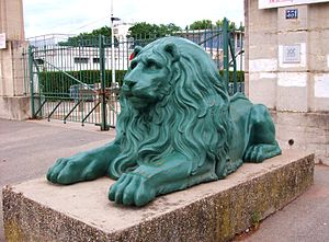 Olympique Lyonnais - One of the two lions guarding the main entrance to the Stade Gerland.