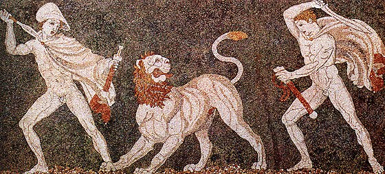 Alexander (left), wearing a kausia and fighting an Asiatic lion with his friend Craterus (detail); late 4th century BC mosaic, Pella Museum Lion hunt mosaic from Pella.jpg