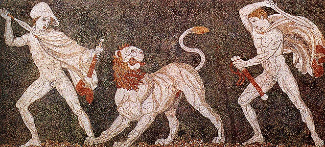 Lion hunt mosaic from Pella