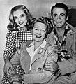 Lizabeth Scott, Hedda Hopper, and Mark Stevens, 1946.jpg