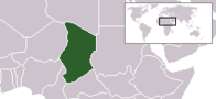 A map showing the location of Chad