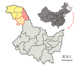 Huma County (red) in Da Hinggan Ling Prefecture (yellow) and Heilongjiang