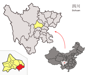 Jianyang, Sichuan - Image: Location of Jianyang within Sichuan (China)