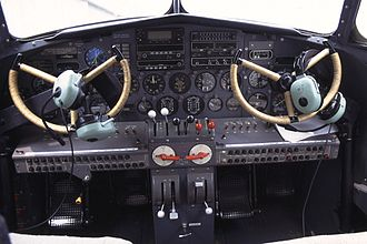 Lockheed Model 10 Electra - Flight deck of a Model 10A, it has been updated with a more modern instrument panel
