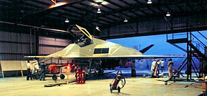 4450th Tactical Group - FSD-1, later F-117A 79-10780 inside a hangar prior to the first flight of the Nighthawk, June, 1981.