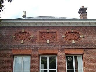 York House, Twickenham - Fleur de lis detail on loggia marks an extension made by the Orleanist pretender.