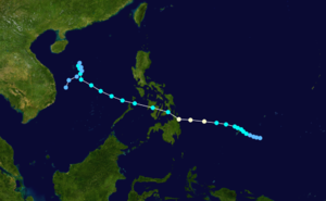 1975 Pacific typhoon season - Image: Lola 1975 track