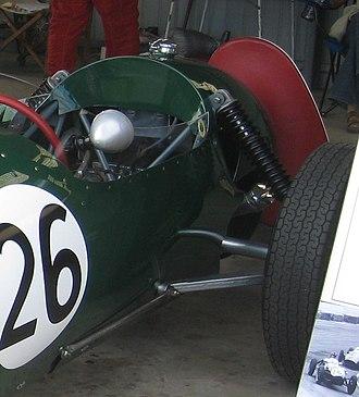 Chapman strut - Lotus Twelve. The strut spring, driveshaft below and radius rod can just be seen