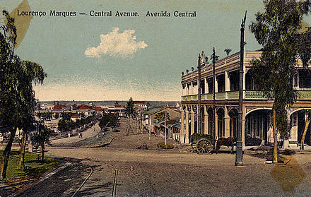 View of the Central Avenue in Lourenco Marques, now Maputo, ca. 1905; Lourenco-Marques-pc-c1905.jpg