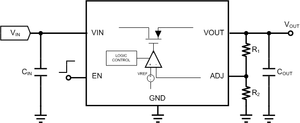 Linear regulator - Adjustable voltage regulator circuit showing 'adjust' terminal