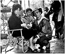 Anna Magnani sul set di Pelle di serpente (1959) con il regista del film Sidney Lumet