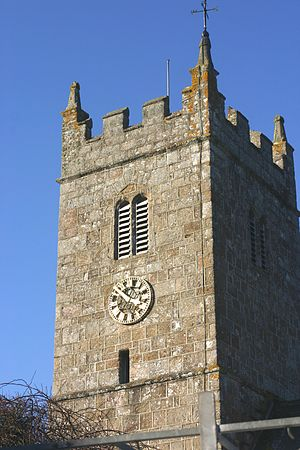 Lustleigh - Church tower of St John the Baptist, Lustleigh