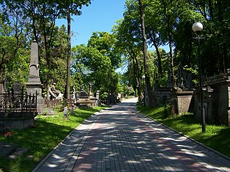 Lychakiv Cemetery - One of the cemetery alley, 2007.