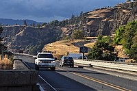 Lyle, Washington - vehicle approaching Washington State Route 14 Klickitat River Bridge from west.jpg