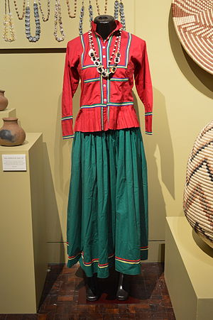 Seri people - Seri woman's dress for everyday wear on display at the Museo de Arte Popular, Mexico City