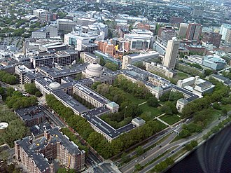 Campus of the Massachusetts Institute of Technology - MIT central campus, viewed from a helicopter over the Charles River