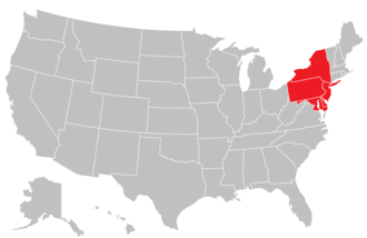 Middle States Association of Colleges and Schools - Image: MSA map