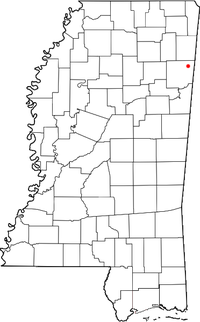 Location of Parham, Mississippi