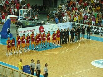 Macedonia national basketball team - Macedonia basketball team prior to a match at Boris Trajkovski Sports Center