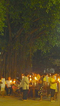 Magha Puja Day in Wat Khung Taphao