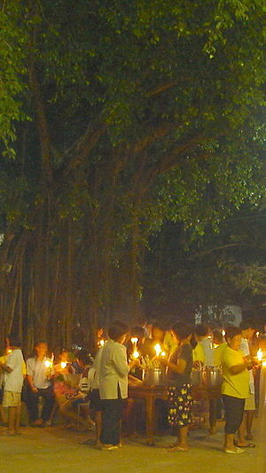 Magha Puja - Magha Puja Day in Wat Khung Taphao, Uttaradit Province, Thailand.