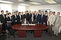 Maki Kawai, Sam Aronson, and others, at 2012 signing of RIKEN-BNL agreement renewal.jpg