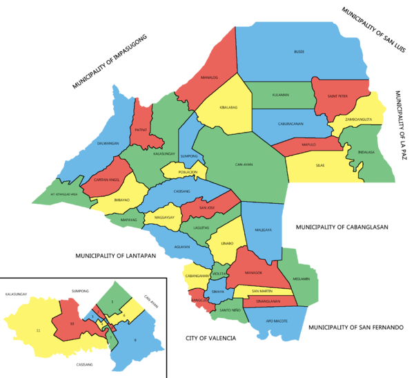 Political map of Malaybalay City showing the 46 barangays under its jurisdiction. Poblacion district is enlarged below left.
