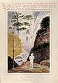 Malaysia; a man at the foot of a huge waterfall on Penang Is Wellcome V0037501.jpg