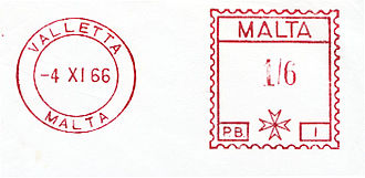 Postage stamps and postal history of Malta - Valletta meter stamp, 1966