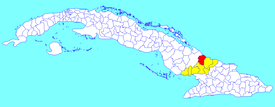 Manatí municipality (red) within  Las Tunas Province (yellow) and Cuba
