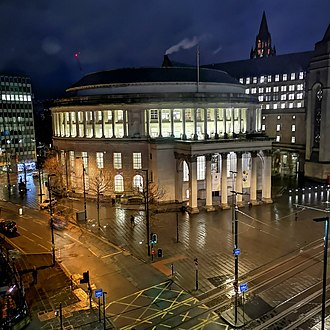 Manchester Central Library - Manchester Central Library at Night