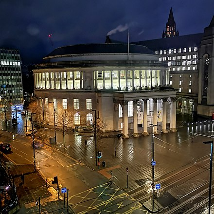 Manchester Central Library at Night Manchester Central Library 2.jpg