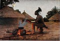 Mangbatu woman by the fire. Water-colour by E. M. Heims.jpg