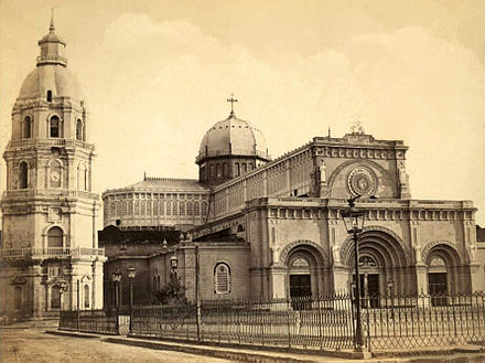 The newly rebuilt Manila Cathedral in 1880 before the earthquake of July 20, 1880, which knocked down the over-a-century old bell tower. Manila Cathedral before the 1880 earthquake.jpg