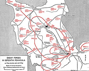 American airborne landings in Normandy - Deployment of German forces on June 6, 1944.