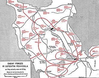 American airborne landings in Normandy - Deployment of German forces on June 6, 1944.