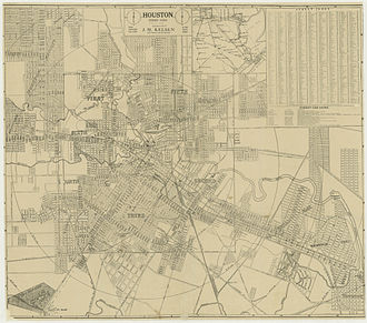 Third Ward, Houston - 1913 map of the six wards of Houston