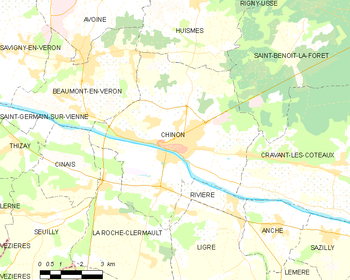 Map of the commune of Chinon
