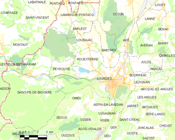 Map of the commune de Lourdes