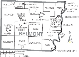 Belmont County, Ohio - Map of Belmont County, Ohio With Municipal and Township Labels