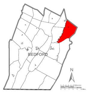 Broad Top Township, Bedford County, Pennsylvania - Image: Map of Broad Top Township, Bedford County, Pennsylvania Highlighted