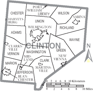 Map of Clinton County Ohio With Municipal and Township Labels.PNG