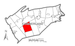 Map of Cumberland County, Pennsylvania highlighting Penn Township