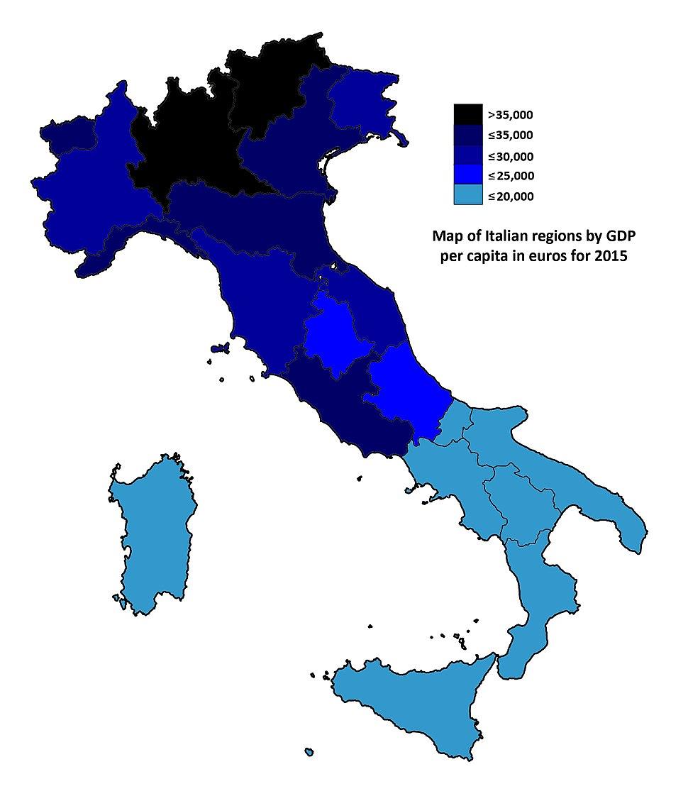 Map of Italian regions by GDP per capita in euros (2015)