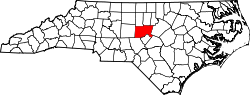 Map of North Carolina highlighting Chatham County.svg