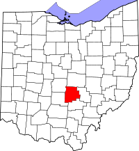 Locatie van Fairfield County in Ohio