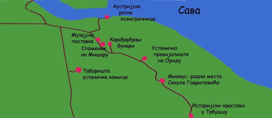 Map of places of events of Mišar battle